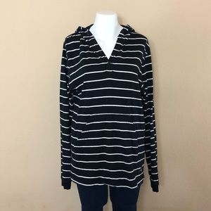 D1 10.deep Black and White Striped Hoodie Size L